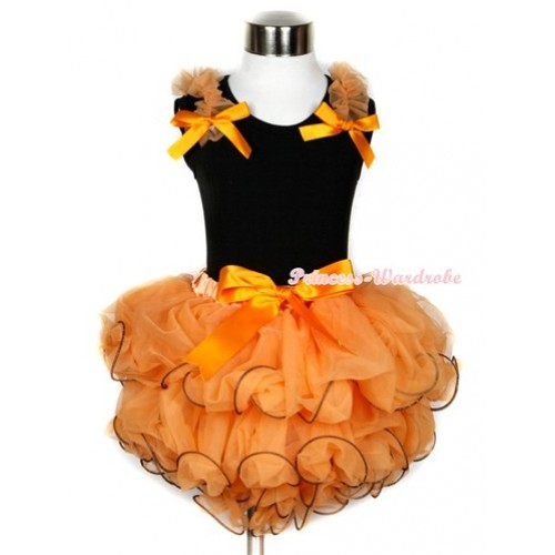 Halloween Black Tank Top With Orange Ruffles & Orange Bow With Orange Bow Orange Petal Pettiskirt MW247