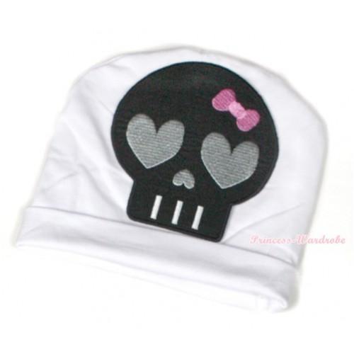 Halloween White Cotton Cap with Black Skeleton Print TH392