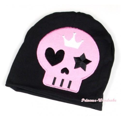 Halloween Black Cotton Cap with Light Pink Skeleton Print TH395
