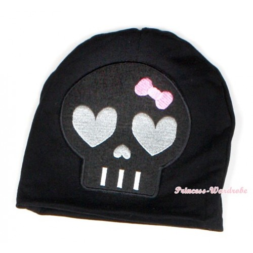 Halloween Black Cotton Cap with Black Skeleton Print TH398