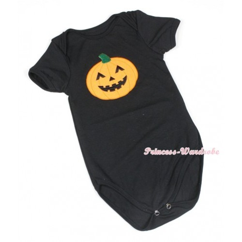 Halloween Black Baby Jumpsuit with Pumpkin Print TH403
