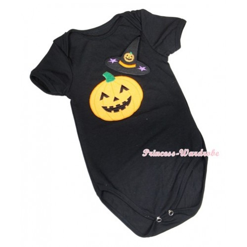 Halloween Black Baby Jumpsuit with Pumpkin Witch Hat & Pumpkin Print TH404