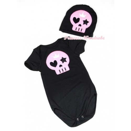 Halloween Black Baby Jumpsuit with Light Pink Skeleton Print with Cap Set JP53