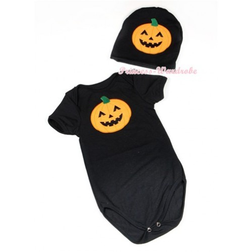 Halloween Black Baby Jumpsuit with Pumpkin Print with Cap Set JP54