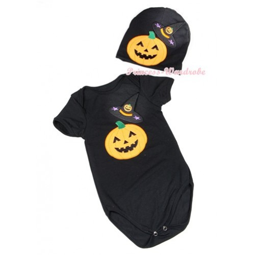 Halloween Black Baby Jumpsuit with Pumpkin Witch Hat & Pumpkin Print with Cap Set JP55