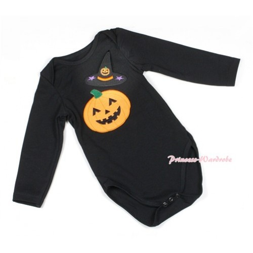 Halloween Black Long Sleeve Baby Jumpsuit with Pumpkin Witch Hat & Pumpkin Print LS215