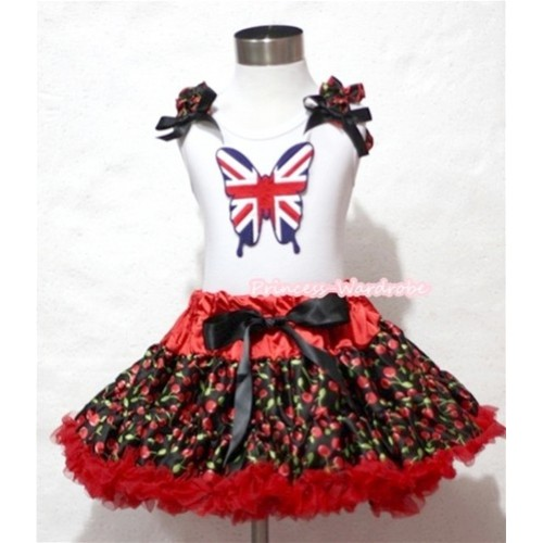 Hot Red Black Cherry Pettiskirt with Patriotic Britain Butterfly with Black Cherry Ruffles and Black Bow White Tank Top MM173