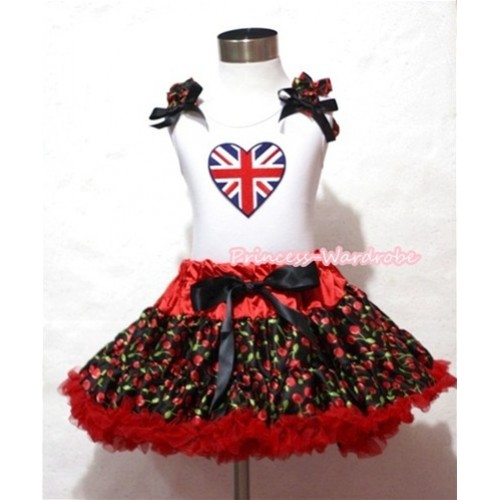 Hot Red Black Cherry Pettiskirt with Patriotic British Heart Print White Tank Top With Black Cherry Ruffles and Black Bow MM241