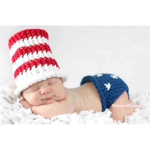 Patriotic American Stars Photo Prop Crochet Newborn Baby Custome C148