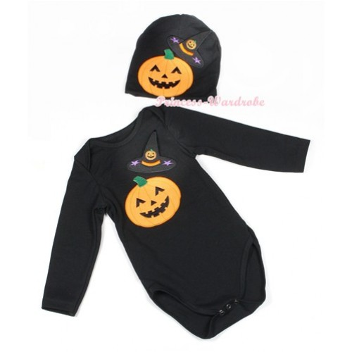 Halloween Black Long Sleeve Baby Jumpsuit with Pumpkin Witch Hat & Pumpkin Print with Cap Set LS110