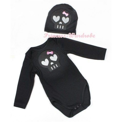 Halloween Black Long Sleeve Baby Jumpsuit with Black Skeleton Print with Cap Set LS113