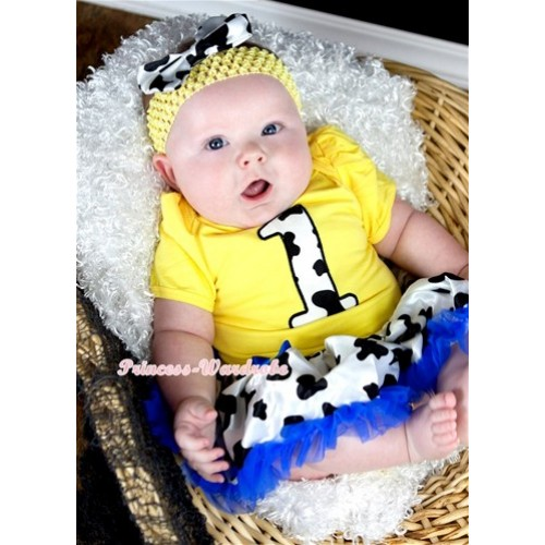 Yellow Baby Jumpsuit Royal Blue Milk Cow Pettiskirt With 1st Milk Cow Birthday Number Print With Yellow Headband Milk Cow Satin Bow JS1305