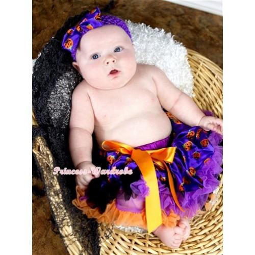 Halloween Dark Purple Orange Black Pumpkin Newborn Pettiskirt N151