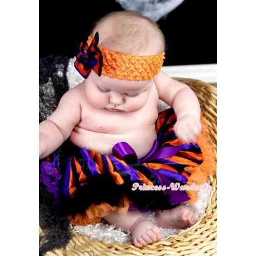 Halloween Dark Purple Orange Black Striped Newborn Pettiskirt N137