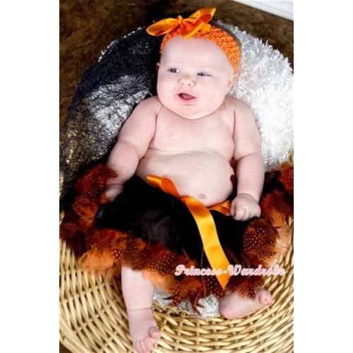 Halloween Black Orange Feather Newborn Pettiskirt N152