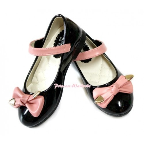 Black Patent Leather Light Pink Bow Slip On Deck Boat Girl Shoes 888Black