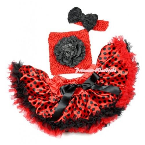 Halloween Red Black Dots Beetle Pettiskirt,Black Peony Red Crochet Tube Top, Red Headband Black Romantic Rose Bow 3PC Set CT632
