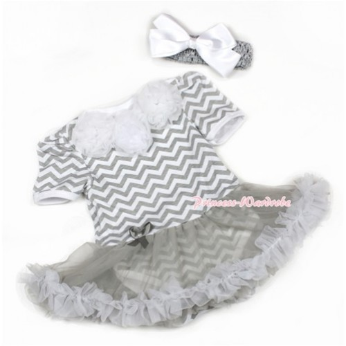 Grey White Wave Baby Jumpsuit Grey Pettiskirt With White Rosettes With Grey Headband White Silk Bow JS1363