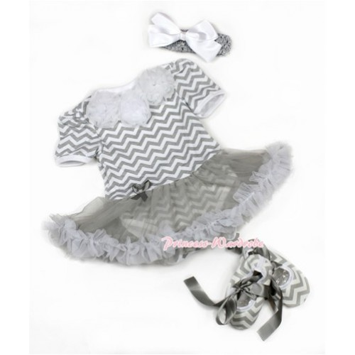 Grey White Baby Jumpsuit Grey Pettiskirt With White Rosettes With Grey Headband White Silk Bow With Grey Ribbon Grey White Wave Shoes JS1385
