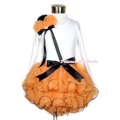 Halloween Black Bow Orange Petal Pettiskirt with Matching White Long Sleeves Top with Bunch of One Black Two Orange Rosettes & Black Bow MW255