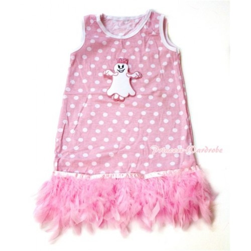 Light Pink White Polka Dots One-Piece Pettidress With Princess Ghost Print With Light Pink Posh Feather Ruffles CD023