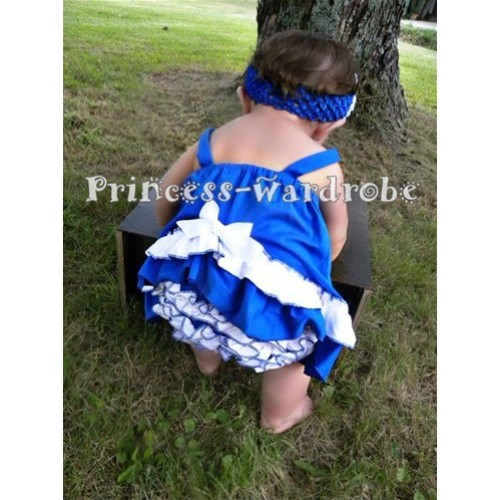 Royal Blue White Swing Top with White Bow with matching White Ruffles Royal Blue Panties Bloomers SP03