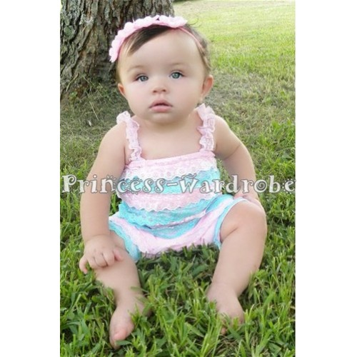 Light Blue Light Pink Lace Ruffles Petti Rompers with Straps LR20