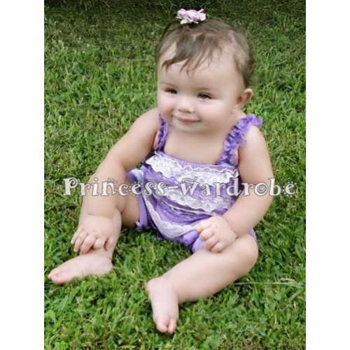 Light Purple Light Pink Lace Ruffles Petti Rompers with Straps LR21