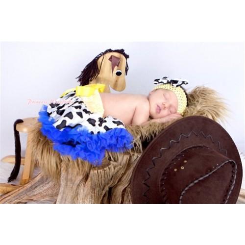 Yellow Royal Blue Milk Cow Newborn Pettiskirt N133