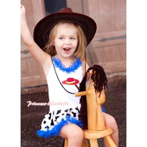 White Baby Halter Jumpsuit Royal Blue Milk Cow Pettiskirt With Royal Blue Chiffon Lacing With Cowgirl Hat Braid Print JS1386