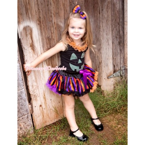 Halloween Black Tank Top with Sparkle Crystal Glitter Pumpkin Print with Orange Chiffon Lacing & Dark Purple Orange Black Striped Pettiskirt MW307