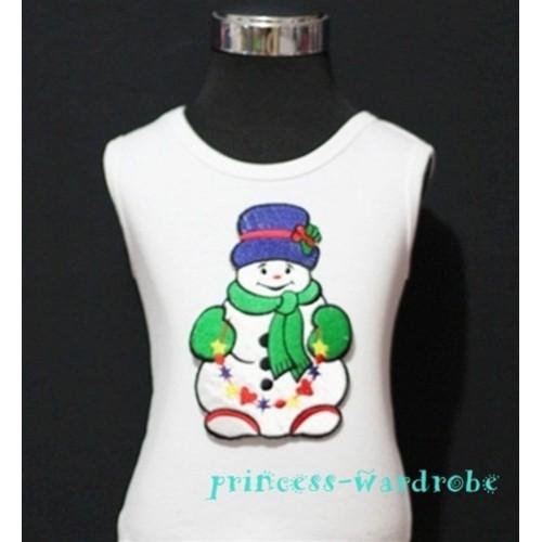 Christmas Snowman with Scarf White Tank Top TW57