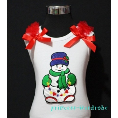 Christmas Scarf Snowman White Tank Top with Red Ribbon and Ruffles TW58