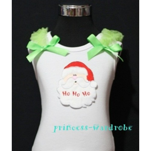 Christmas Santa Claus White Tank Top with Light Green Ribbon and Ruffles TW63