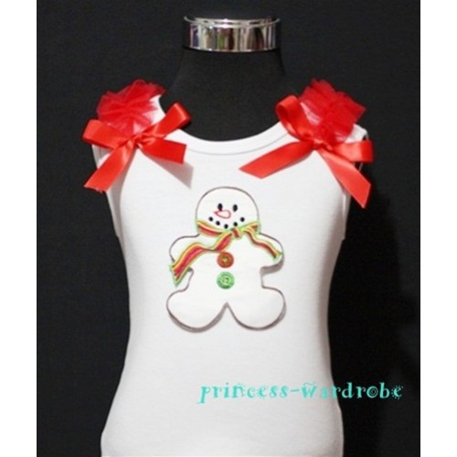 Christmas Gingerbread Snowman White Tank Top with Red Ribbon and Ruffles TW70