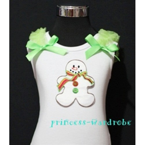 Christmas Gingerbread Snowman White Tank Top with Light Green Ribbon and Ruffles TW71