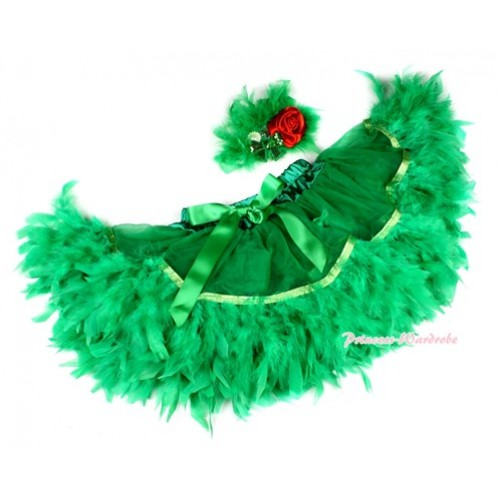 Kelly Green Feather Posh Pettiskirt 2 PC Set N163