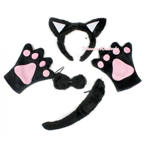 Black Cat 4 Piece Set in Ear Headband, Tie, Tail , Paw PC046