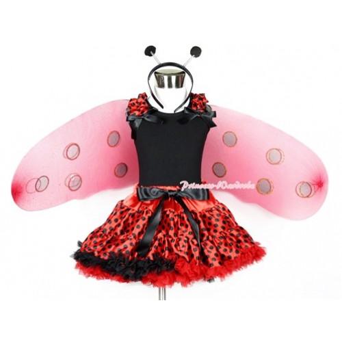 Halloween Black Tank Top With Red Black Dots Ruffles & Black Bows With Red Black Dots Pettiskirt With Beetle Wing &Headband 2PC Set MW313