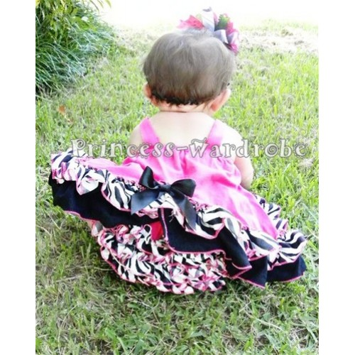 Black White Zebra Hot Pink Swing Top with Black Bow with matching Black Zebra Ruffles Hot Pink Panties Bloomers SP02