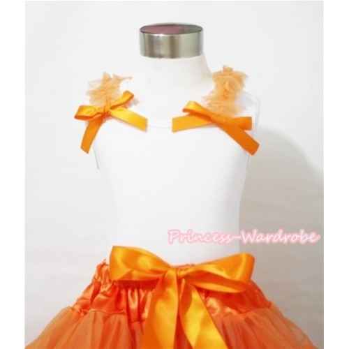 Halloween Orange Ruffles and Bow White Tank Top T415