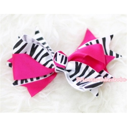 Hot Pink Zebra Screwed Ribbon Bow Hair Clip H85