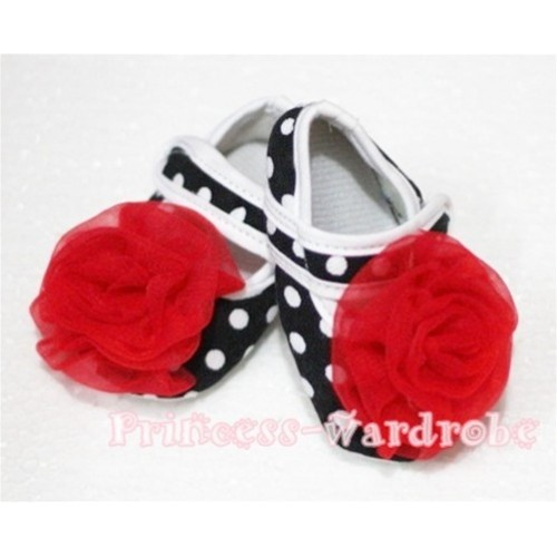 Baby Black White Poika Dot Crib Shoes with Red Rosettes S41