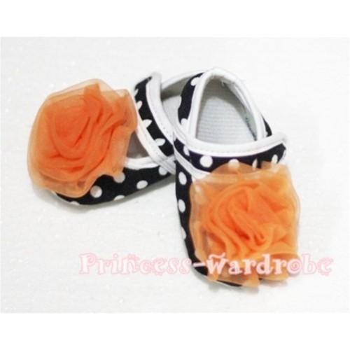 Baby Black White Poika Dot Crib Shoes with Orange Rosettes S42