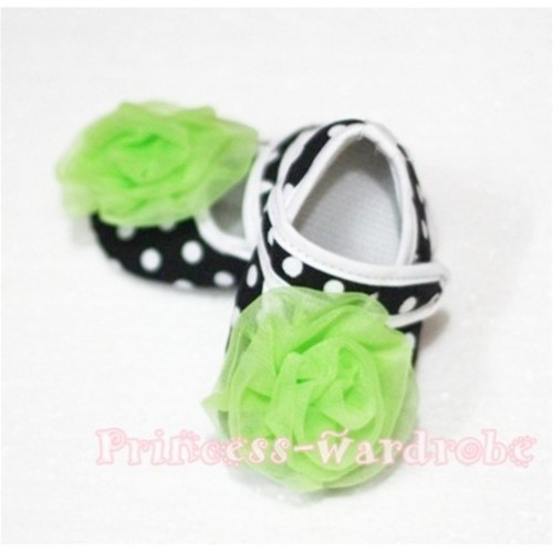 Baby Black White Poika Dot Crib Shoes with Lime Green Rosettes S44