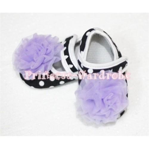 Baby Black White Poika Dot Crib Shoes with Light Purple Rosettes S49