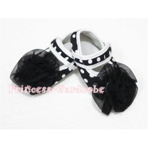 Baby Black White Poika Dot Crib Shoes with Black Rosettes S50
