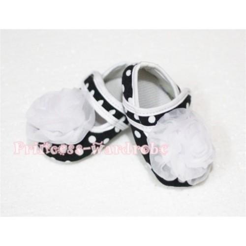 Baby Black White Poika Dot Crib Shoes with White Rosettes S51