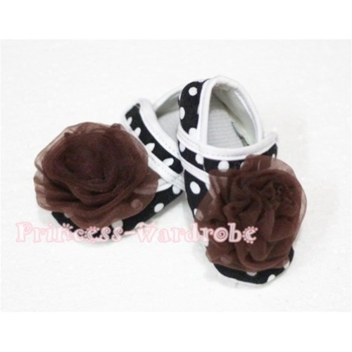 Baby Black White Poika Dot Crib Shoes with Brown Rosettes S52