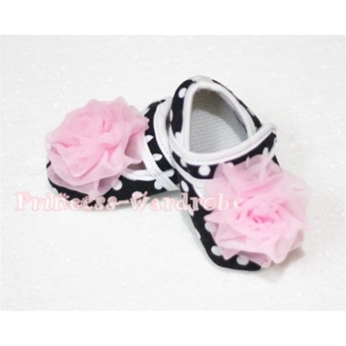 Baby Black White Poika Dot Crib Shoes with Light Pink Rosettes S53